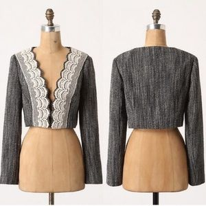Anthropologie Tabitha Doily Lapel Coat bolero Sz 6